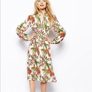ASOS Midi floral print long sleeve dress with tags